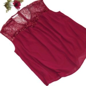 Maurices Lace Top Red Gold Holiday
